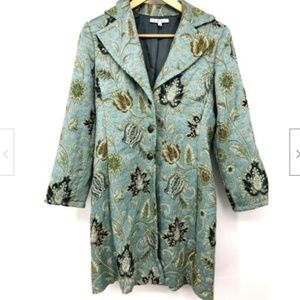 Cabi Guinevere 371 Women Jacket Green Floral Embro
